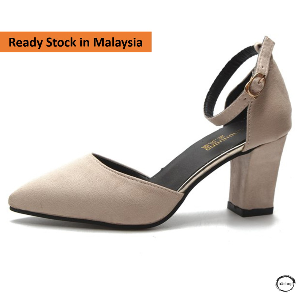 8612a5c1c1e Suede Heel Shoes- black, beige and pink