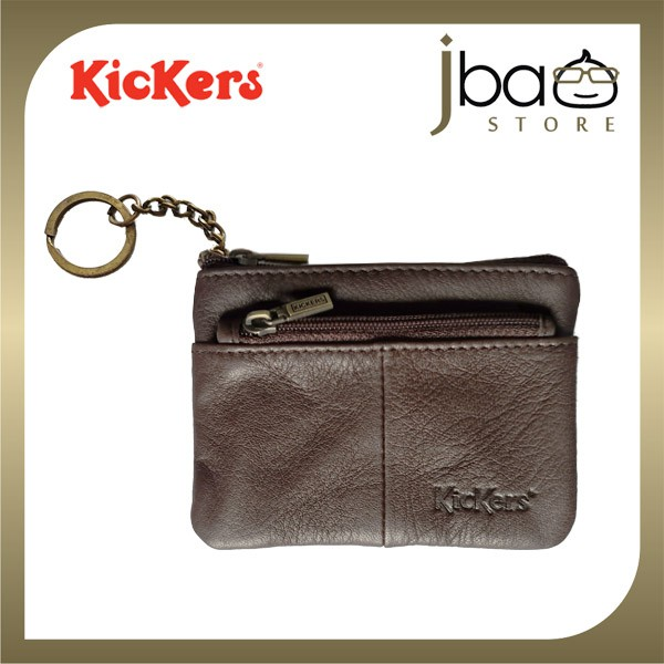 Kickers KIC88369-BR Leather Pocket Wallet Coin Purse Key Chain