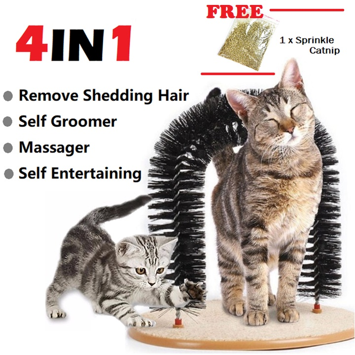 Purrfect Arch Kitty Cat Self-Groomer Brush Massager Bristles Rub Hair Remover Toy