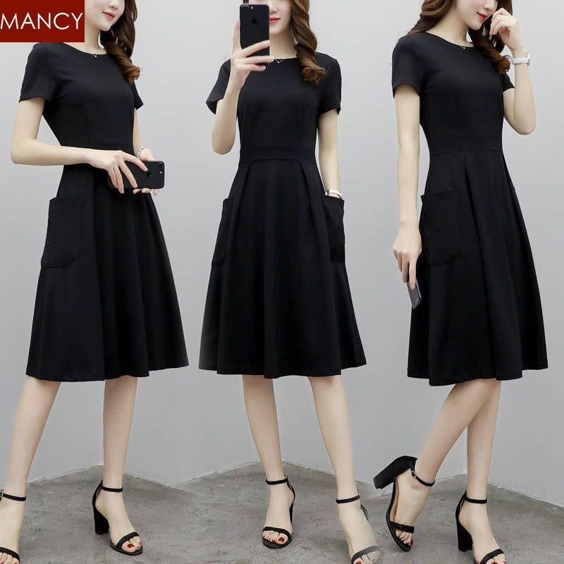 436bb141f1 Korean CHIC Style Black Midi Dresses Office Plus Size Short Sleeve Long  Dress