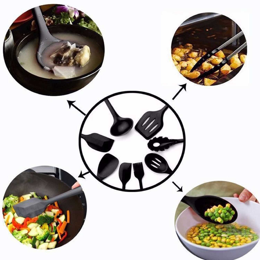 10PCS Cooking Utensils Kitchen Utensil Set Silicone Kitchenware Set Stainless Steel Handle Cookware Set Chef Nonstick