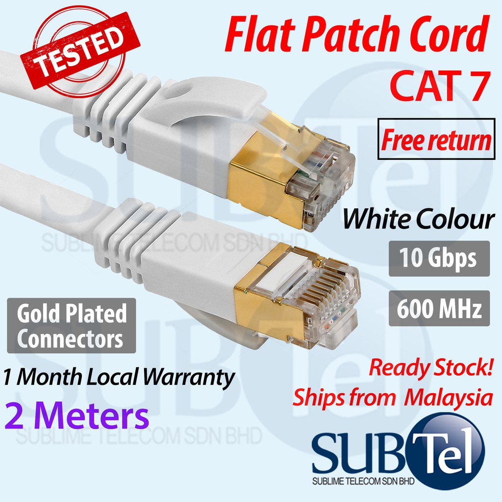 Built with Shielded RJ45 Connector Electronic Tools 15m Gold Plated CAT-7 10 Gigabit Ethernet Ultra Flat Patch Cable for Modem Router LAN Network