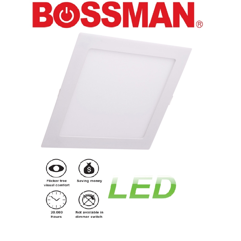 BOSSMAN LED PANLE LIGHT SURFACE DOWNLIGHT LAMPU 9'' 12'' INCH  ROUND SQUARE RECESSED GLASS