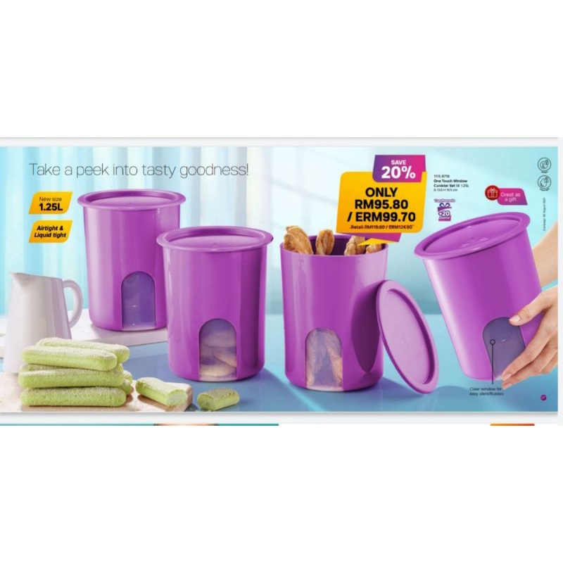 Tupperware One Touch Window Canister Set 1.25L