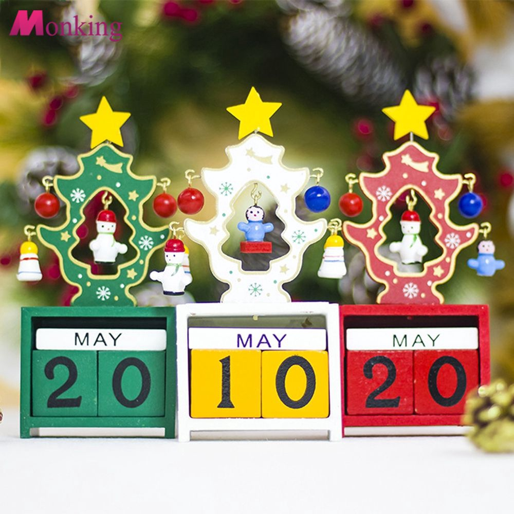 Creative Christmas Gifts.Creative Christmas Wooden Calendar Ornament Cute Mini Gift Xmas Party Home Mnkg
