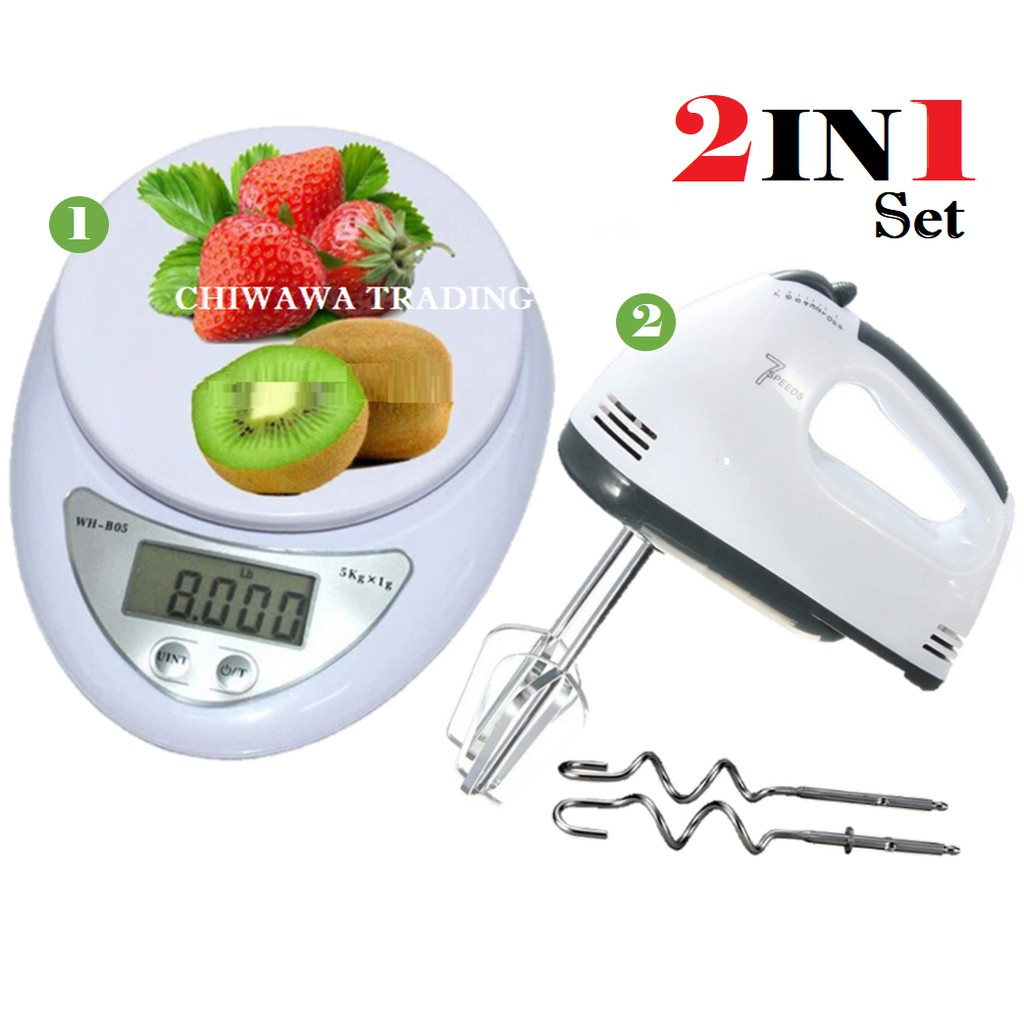 【2 IN 1】Electronic Digital Kitchen Scale 5kg + Electric Hand Mixer Whisk Beater