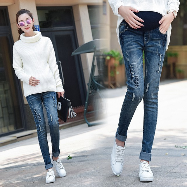ede4fad131627 ProductImage. ProductImage. Ripped Hole Washed Denim Matenity Jeans Elastic  Waist Belly Trousers
