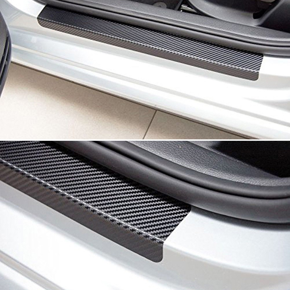 Carbon fibre 3d car door sill scuff protector plate sticker cover tool univer shopee malaysia
