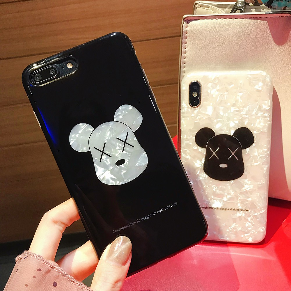 uk availability b68e2 77096 KAWS BEAR BRICK Soft Shell Phone Case Cover For iPhone 6 6S 7 8 Plus X XR  XS Max