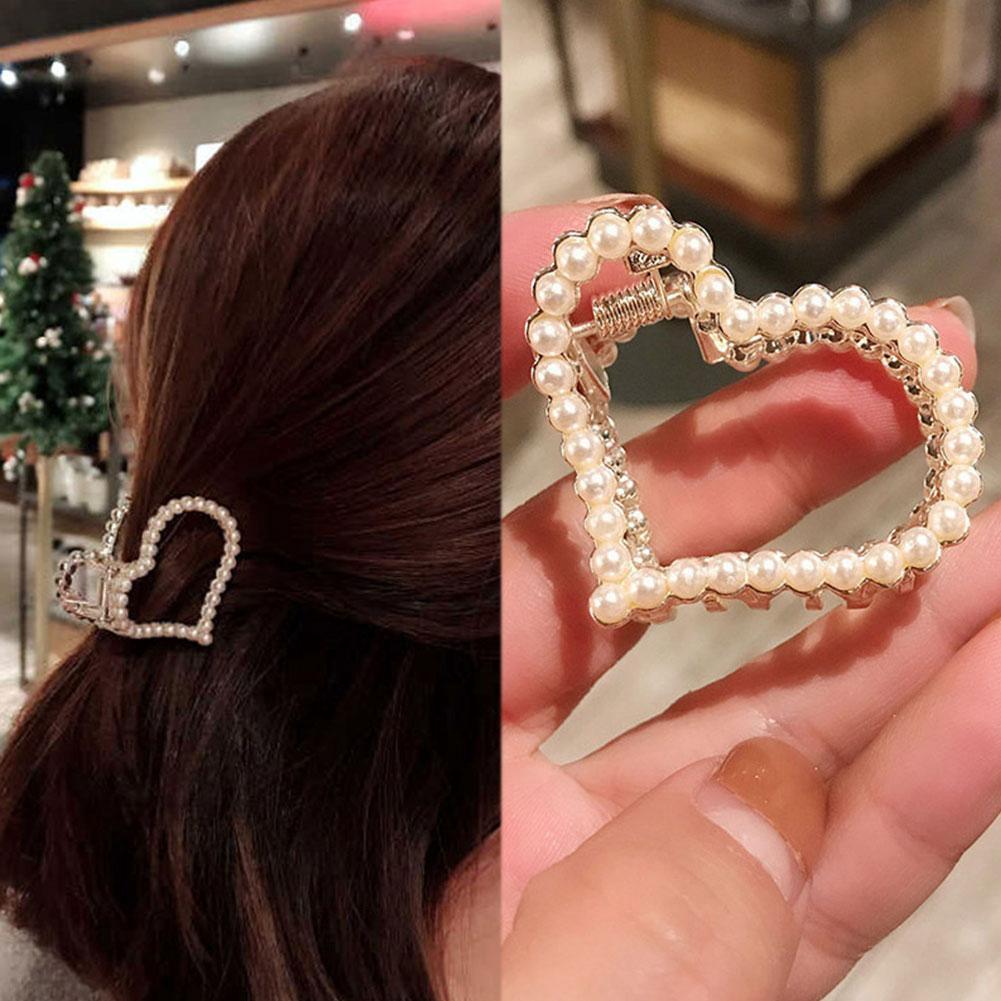 Pearl Hair Claw Clips Rhinestone Flower Crab Claw Clip Ladies Barrettes