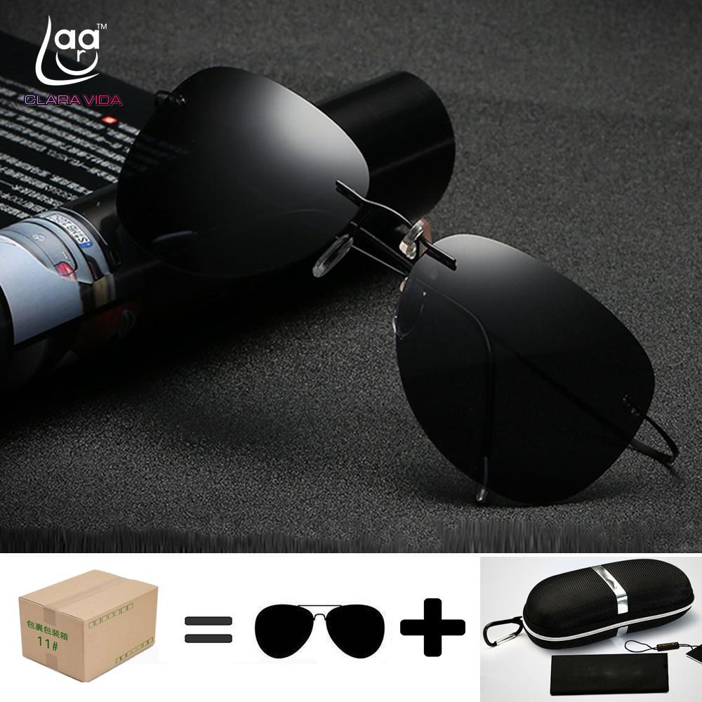 7cec93abd2 Titanium frame Rimless Polarized sunglasses Ultra-light super bomb with  case