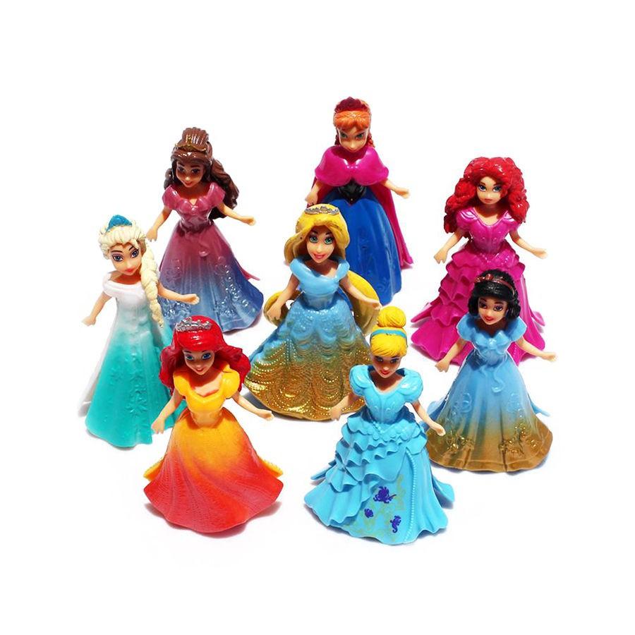 8pcs Princess Ana Elsa Action Figure Dolls Changed Dress Toys Kids ...