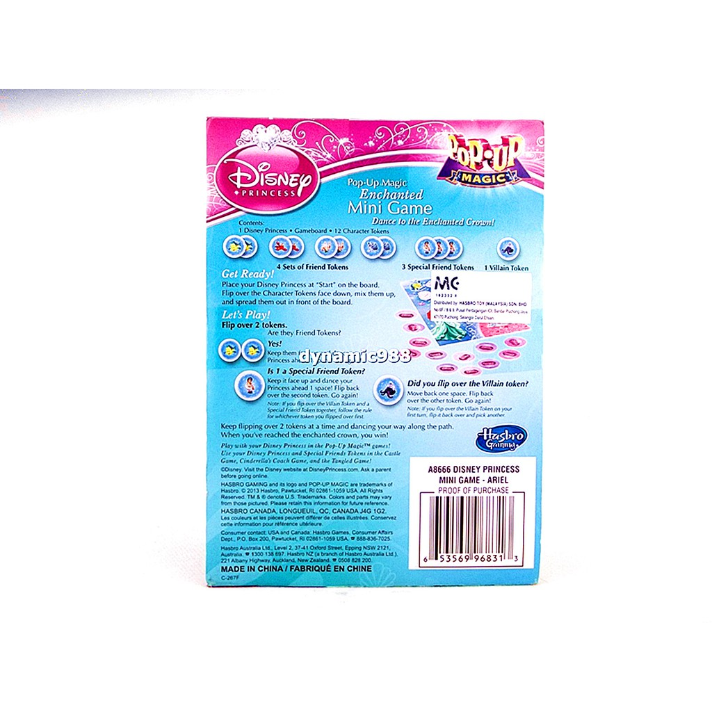 Disney Princess Pop-Up Magic Enchanted Mini Game A8666 Ariel