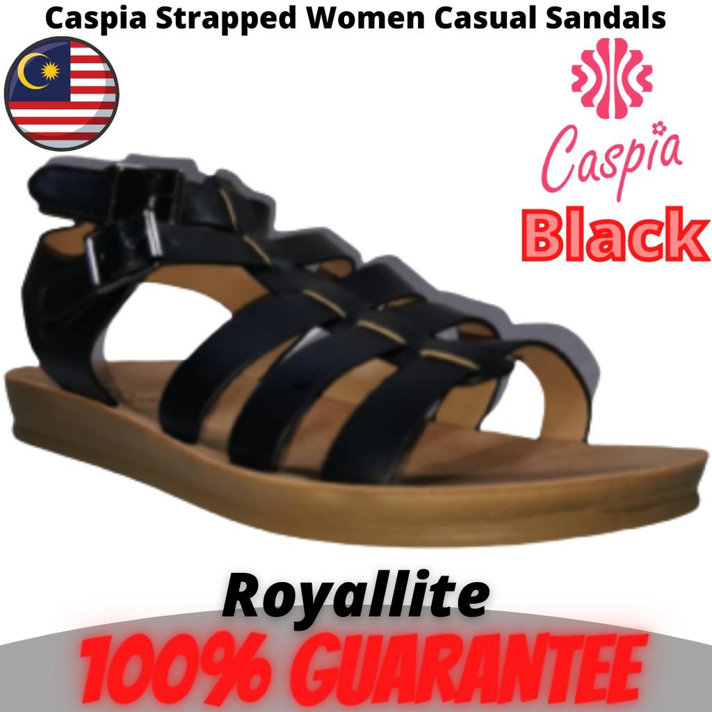 CASPIA Ladies Comfort Casual Sandals (CW-06) Black & Khaki