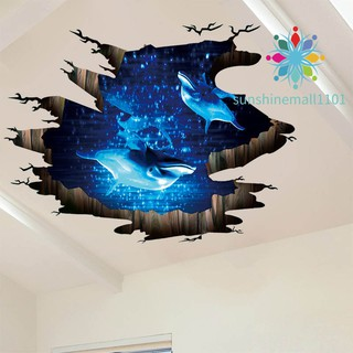 Home Living Room Bedroom 3D Dolphin Ocean Sea Decal Wall Stickers Removable UK Furniture Stickers