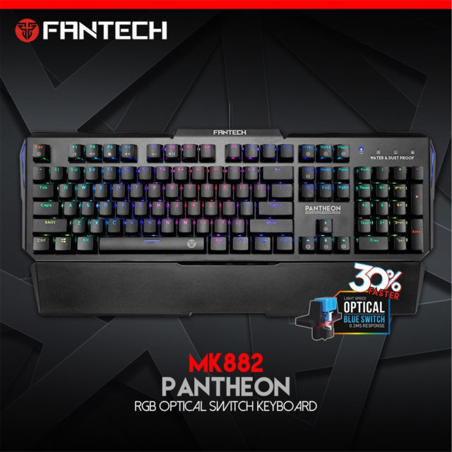 Fantech RGB USB Colorful Backlight Gaming Water Resistant Keyboard - Blue Switch MK882
