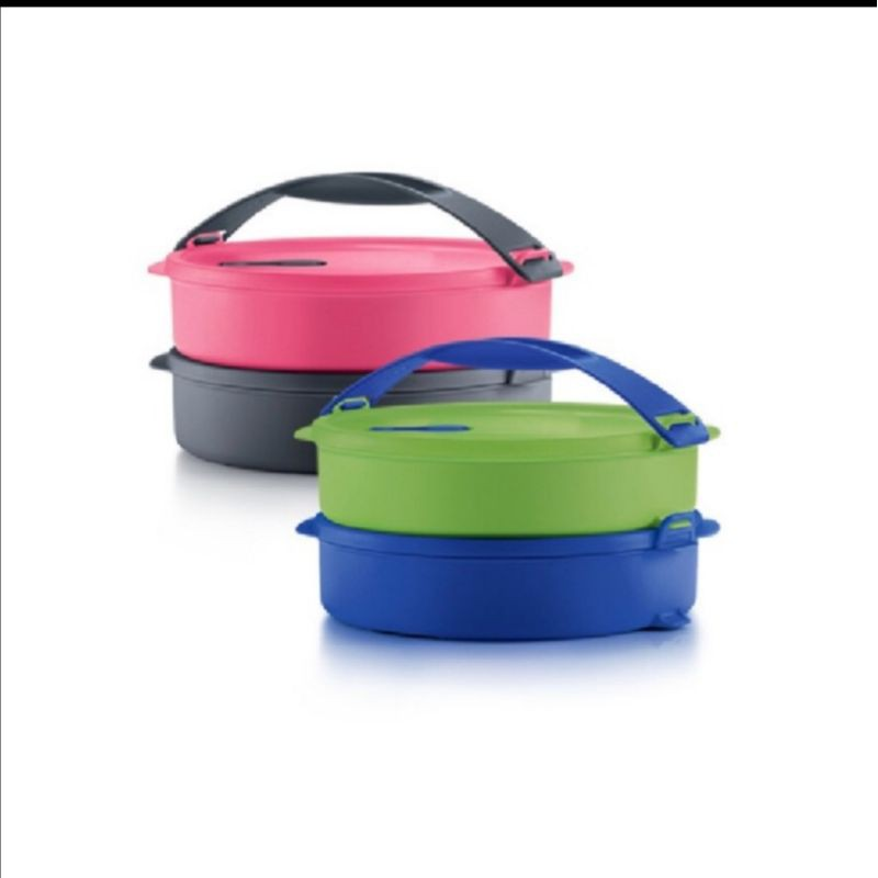 Tupperware Microwaveable Round Click to Go with Handle Lunch Box (1set) 880ml