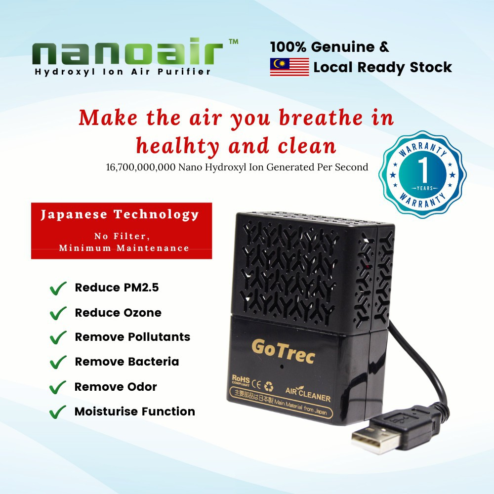 (1 Year Local Warranty) GoTrec Nanoair Hydroxyl Ion Car Air Purifier Japan Technology (READY STOCK)