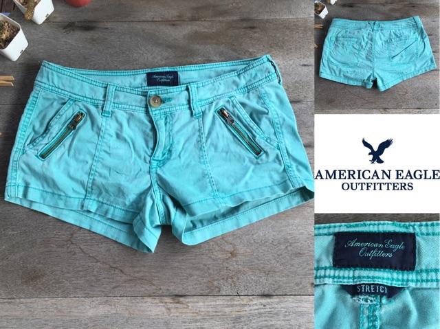 2sis1bro แบรนด์แท้ American Eagle Outfitters Stretch กางเกง ยีนส์ ขาสั้น สีเขียว มือสอง พร้อมส่ง