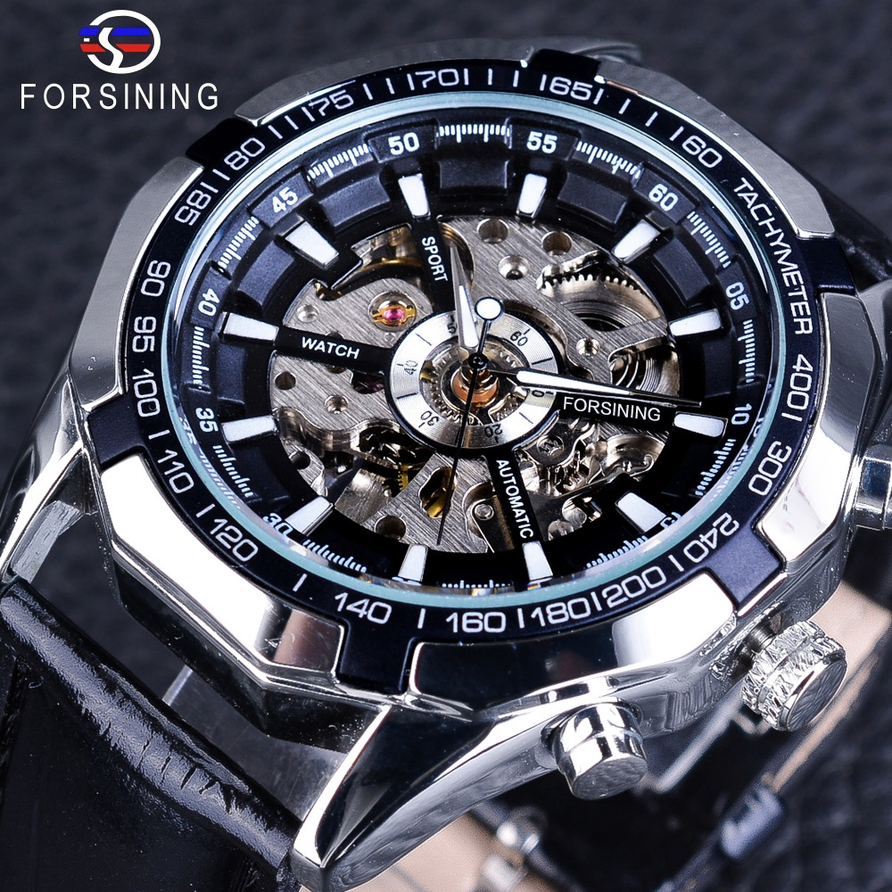 Forsining Steampunk Automatic Men's Watch Silver Case Luminous Hands Sport Watches Black Band Mechanical Clock Male