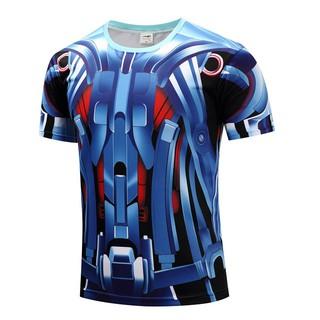 Compression Mens Running T-shirt Sports Gym Fitness 3D Print Trainning Tops D102