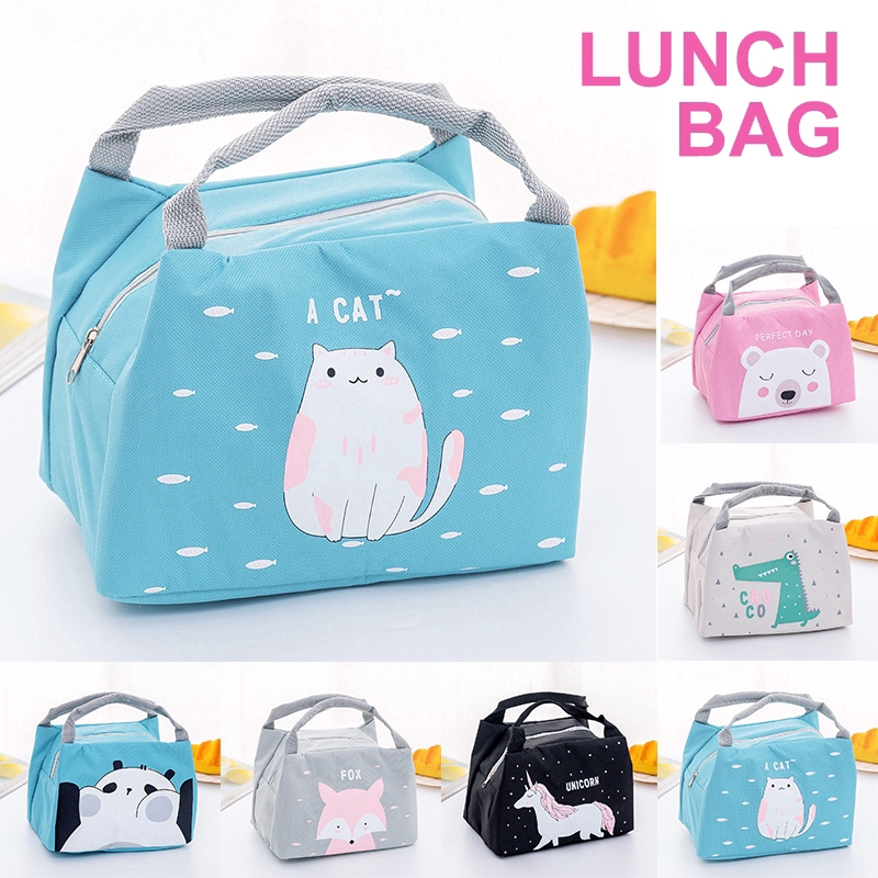 Cute Animals Print Lunch Bag Insulated Portable Waterproof Lunch Container