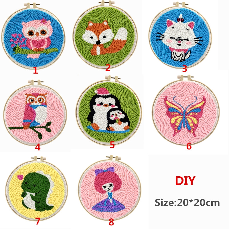 DIY Knitting Kit,Rug Hooking Kits for Beginners Adults,Handcraft Woolen Embroidery Knitting Set,Embroidery Kits Creative Gift for Kids Boys Girls