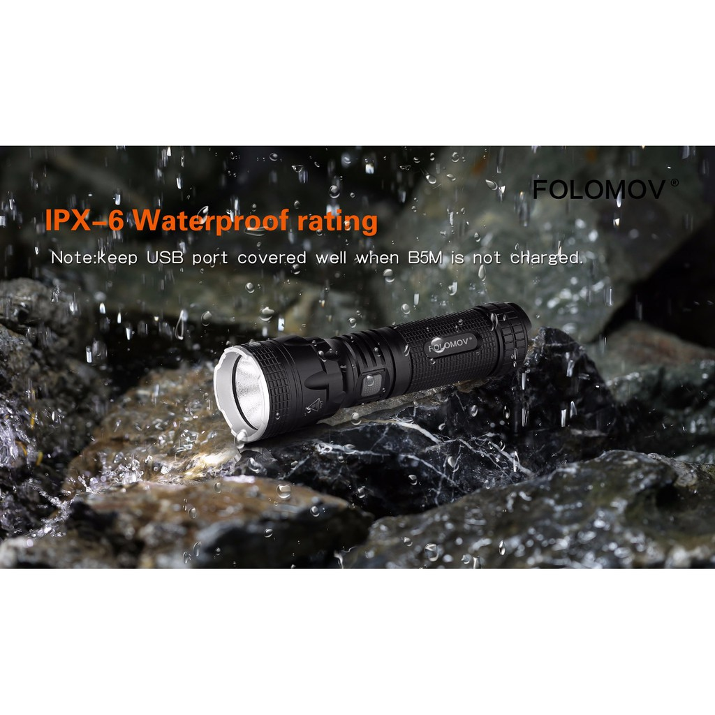 Folomov Tour B5M Cree XHP50.2 LED Multi-functional Micro USB Charge & Discharge Flashlight