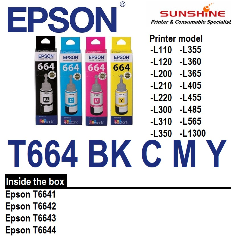 == ORIGINAL == EPSON T664 Refill Ink L120 L210 L360 L405 L565 L385 L1300  L310 6641 6642 6643 6644