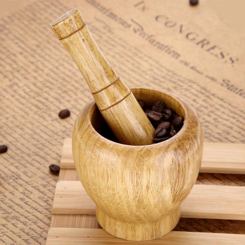 Pestle and Mortar Set Kitchen Hand Manual Wood Garlic Ginger Spices Mortar Pestle Set Grinding Bowl Grinder.