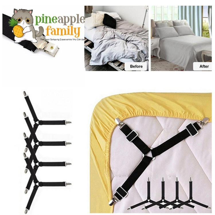 4Pcs Mattress Sheet Clips Grippers Straps Suspender Bed Sofa Fasteners Holders