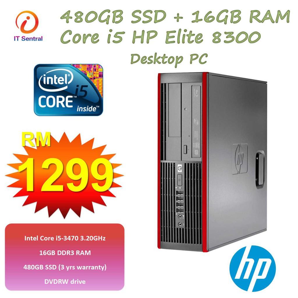 480GB SSD + 16GB + i5 Refurbished HP Elite 8300 SFF desktop PC
