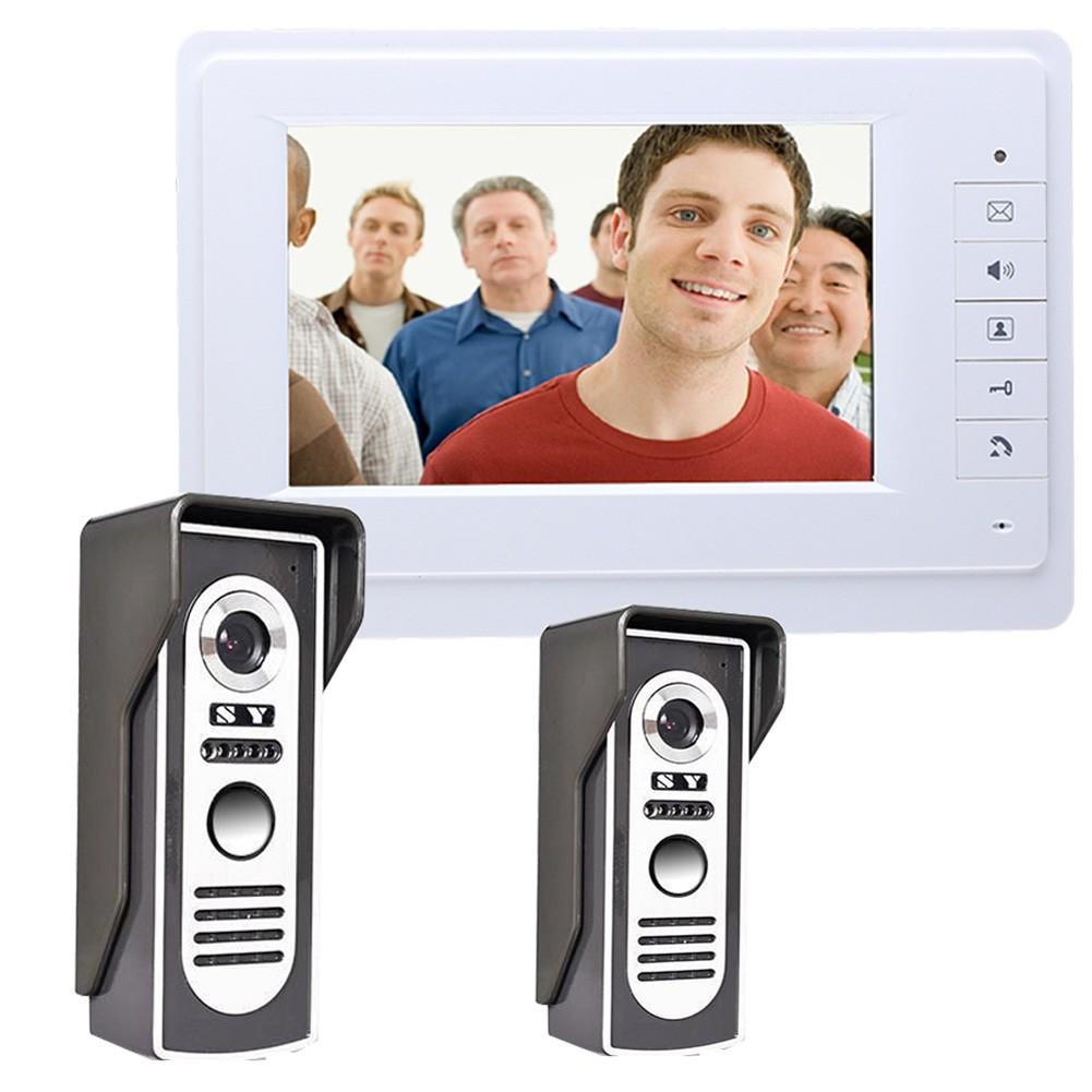 New7 Video Door Phone Doorbell 2 Camera 1 Monitor Panasonic Cordless Kx Tg6811 Wireless With Power Backup