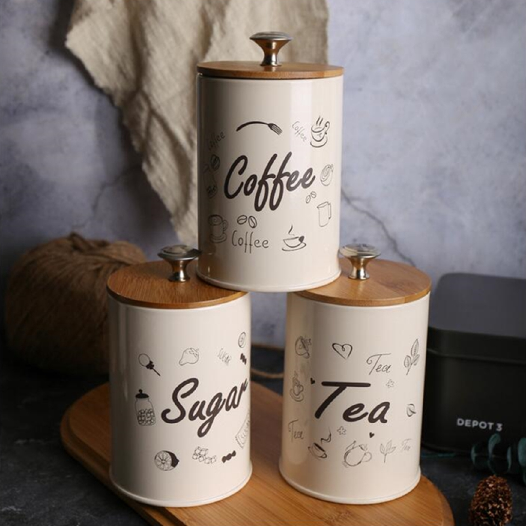 Set Of 3 Small Tea Coffee Sugar Canisters Kitchen Storage Tin Jars Pots Silver