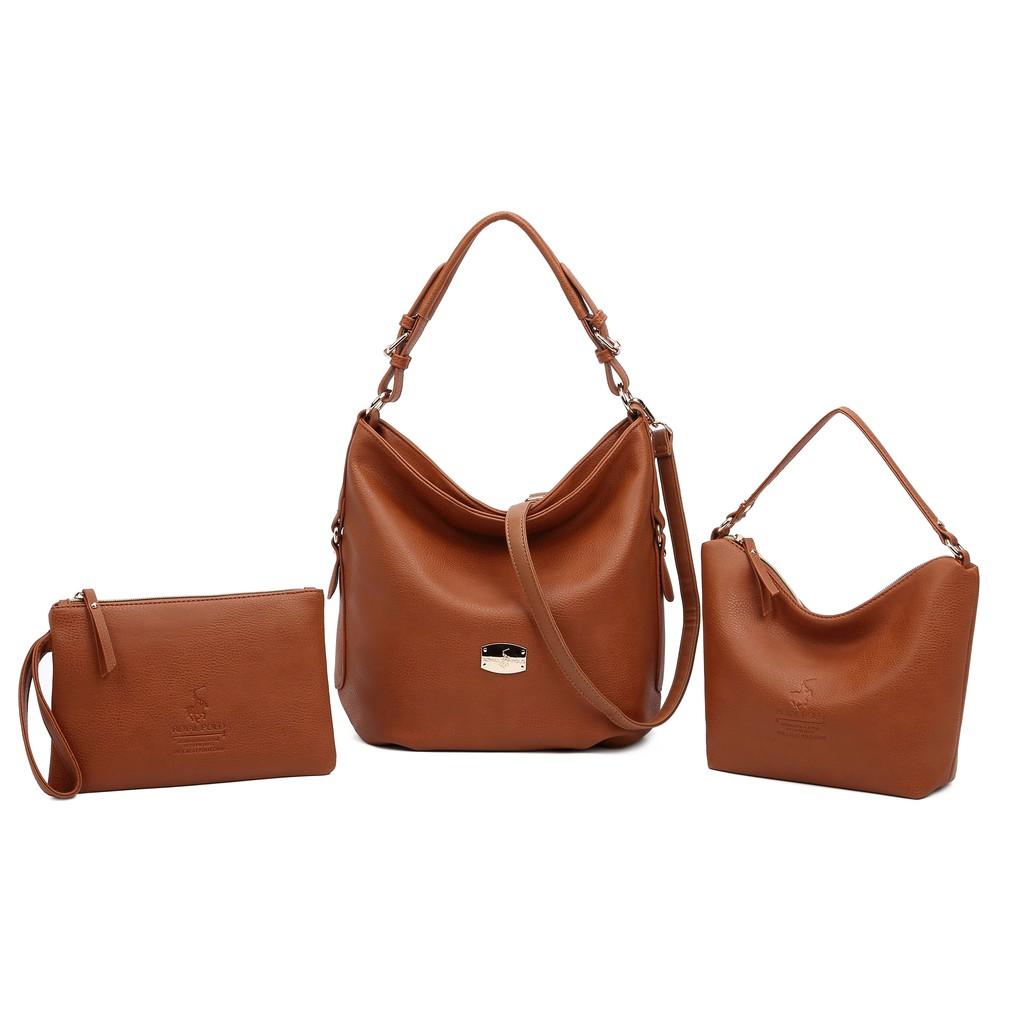 ROYAL POLO Molly Handbag 3 in 1 Set [Free Sling Bag + Button Envelope Wristlet]