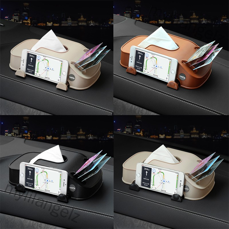 Mylilangelz Car Tissue Box Multi-function Mobile Phone Bracket Inserter Auto Tissue Box Container 3 in 1 Paper Holder