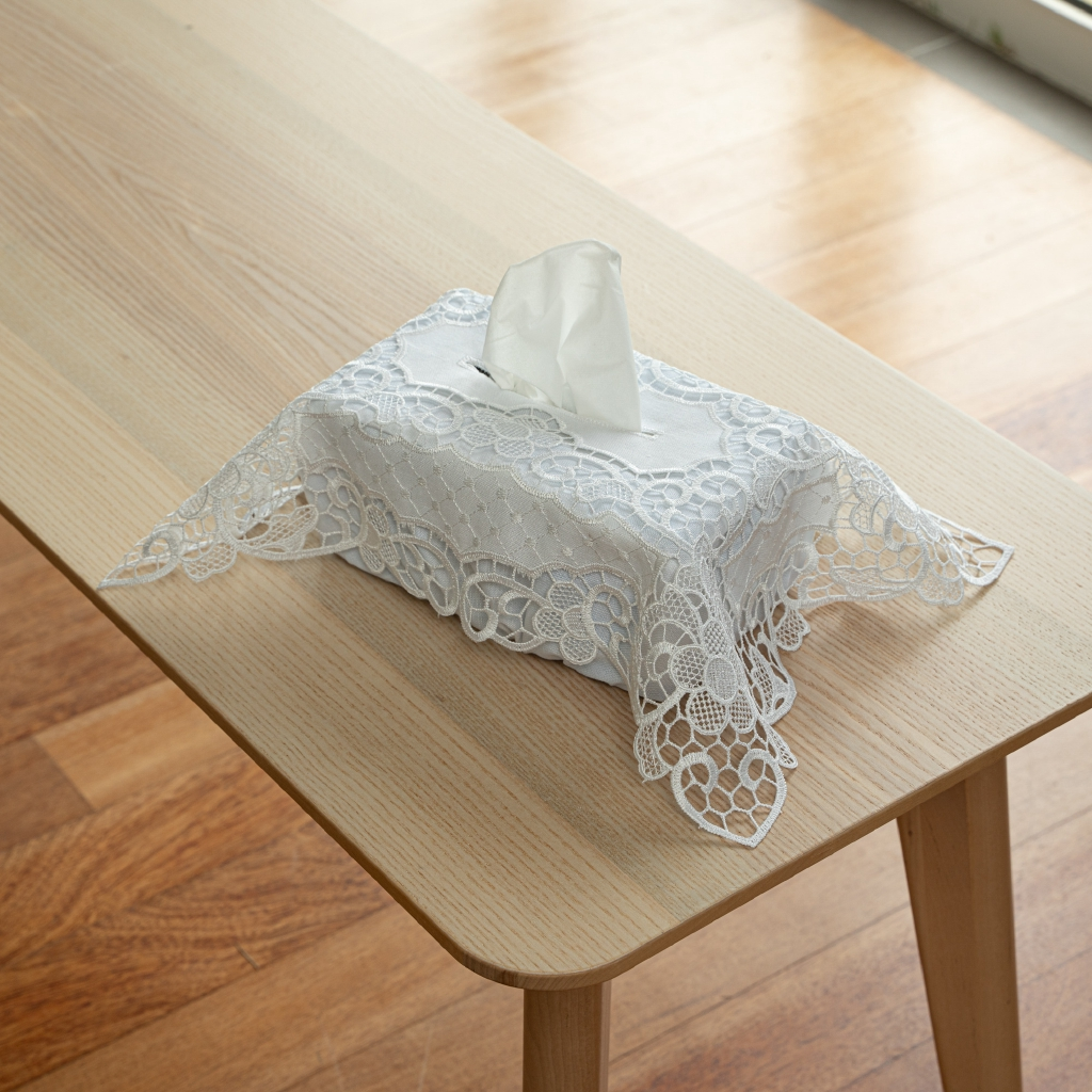 """Anglo Lace Soft Floral Fabric Tissue Box Cover. Easy Care Polycotton.  31x44cm/12x17"""". SRB109 (White)"""