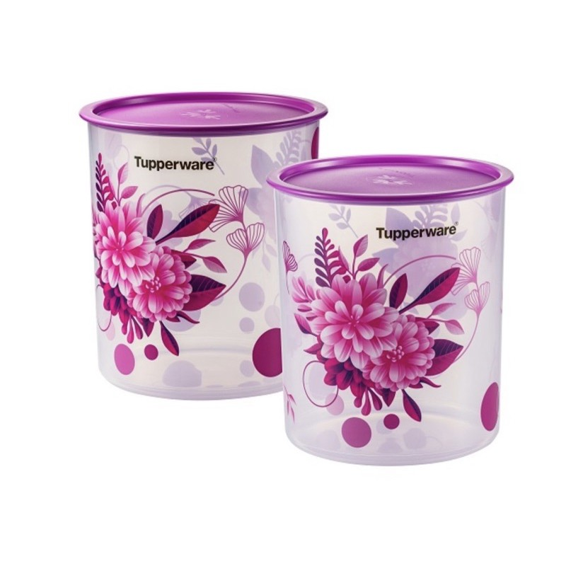 Tupperware Camellia One Touch OT Canister Large 4.3L Floral Food Canister Airtight Water Tight Container