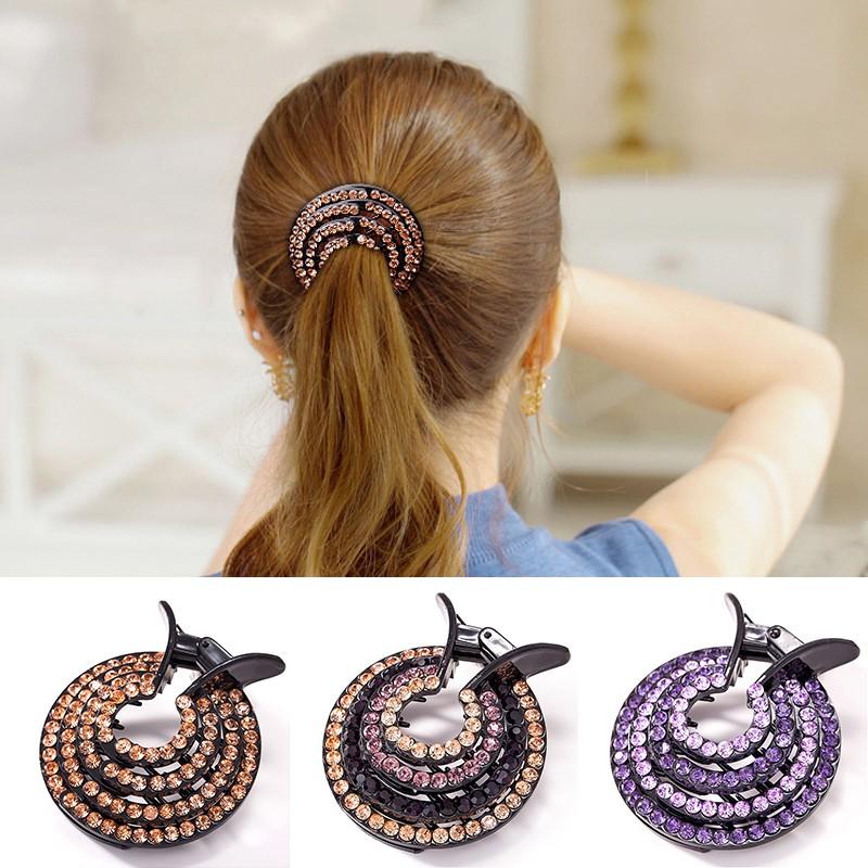 Fashion Ladies Hair Clips Pins Nest Crystal Hairpin Ponytail Hair Bun Holders