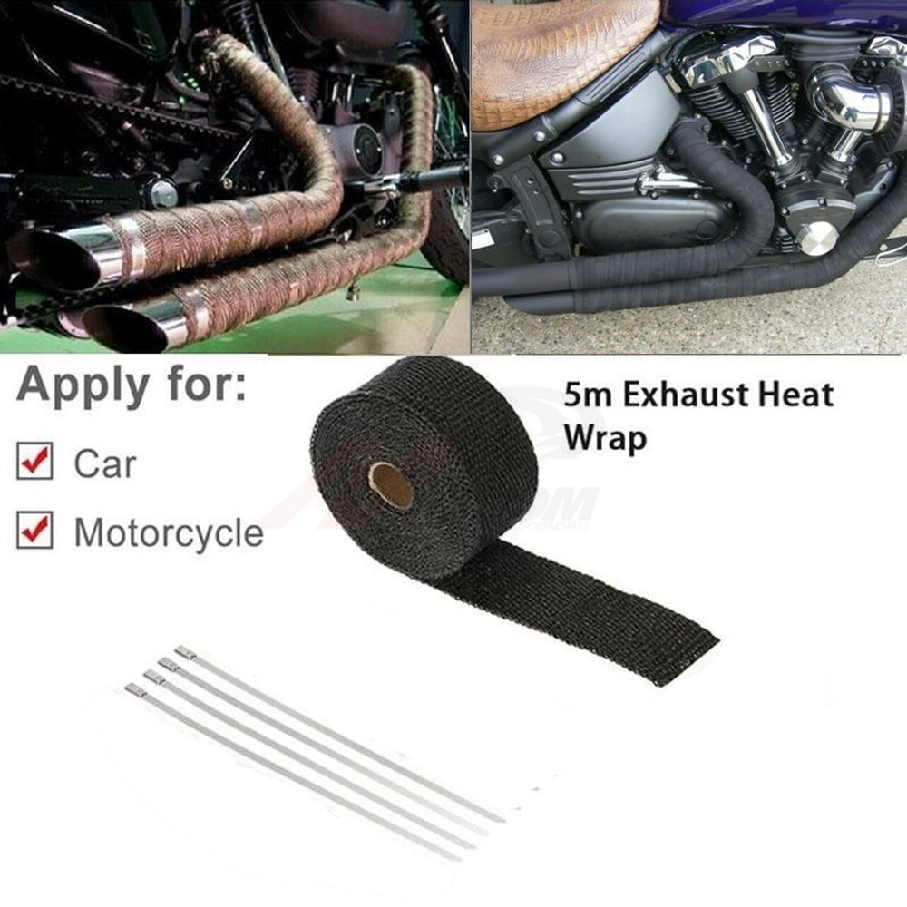 CAR MOTORCYCLE Turbo MANIFOLD HEAT EXHAUST THERMAL WRAP TAPE & STAINLESS  TIES