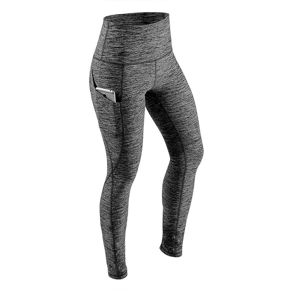 Women's High Waist Yoga Pants Tummy Control Workout Running 4 Way Stretch Yoga Leggings Tights with Pocket (gray)