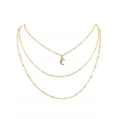 c40312b4eb352 Rhinestone Moon Multi Layers Alloy Necklace (GOLD) | Shopee Malaysia
