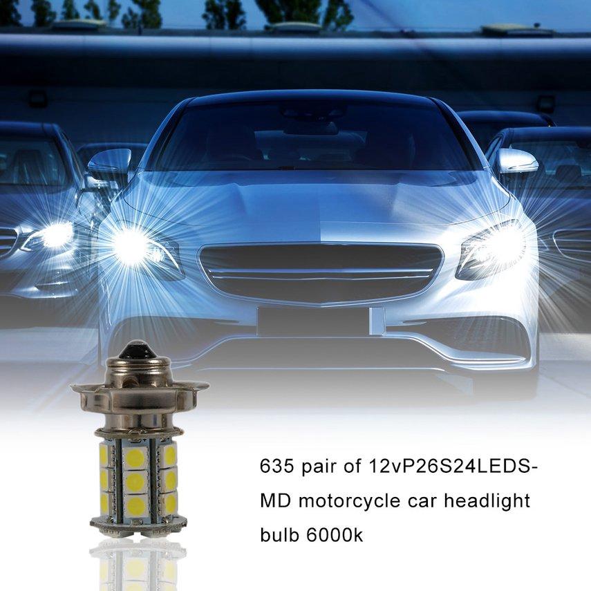2x 12V AC P26 S 24 SMD LED White Auto Bike Motorcycle Headlight Car Bulb Lamp ~