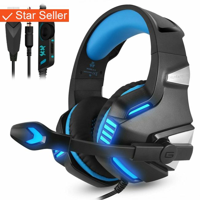 3.5mm Gaming Headset Stereo Gaming HeadPhone Mic LED For PC PS4 New Xbox One