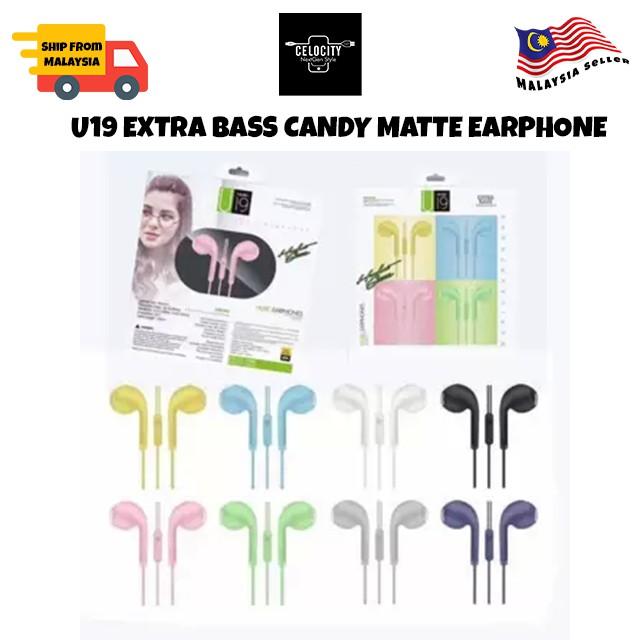 U19 HIFI Stereo Sound Macarone Matte Series Earphones