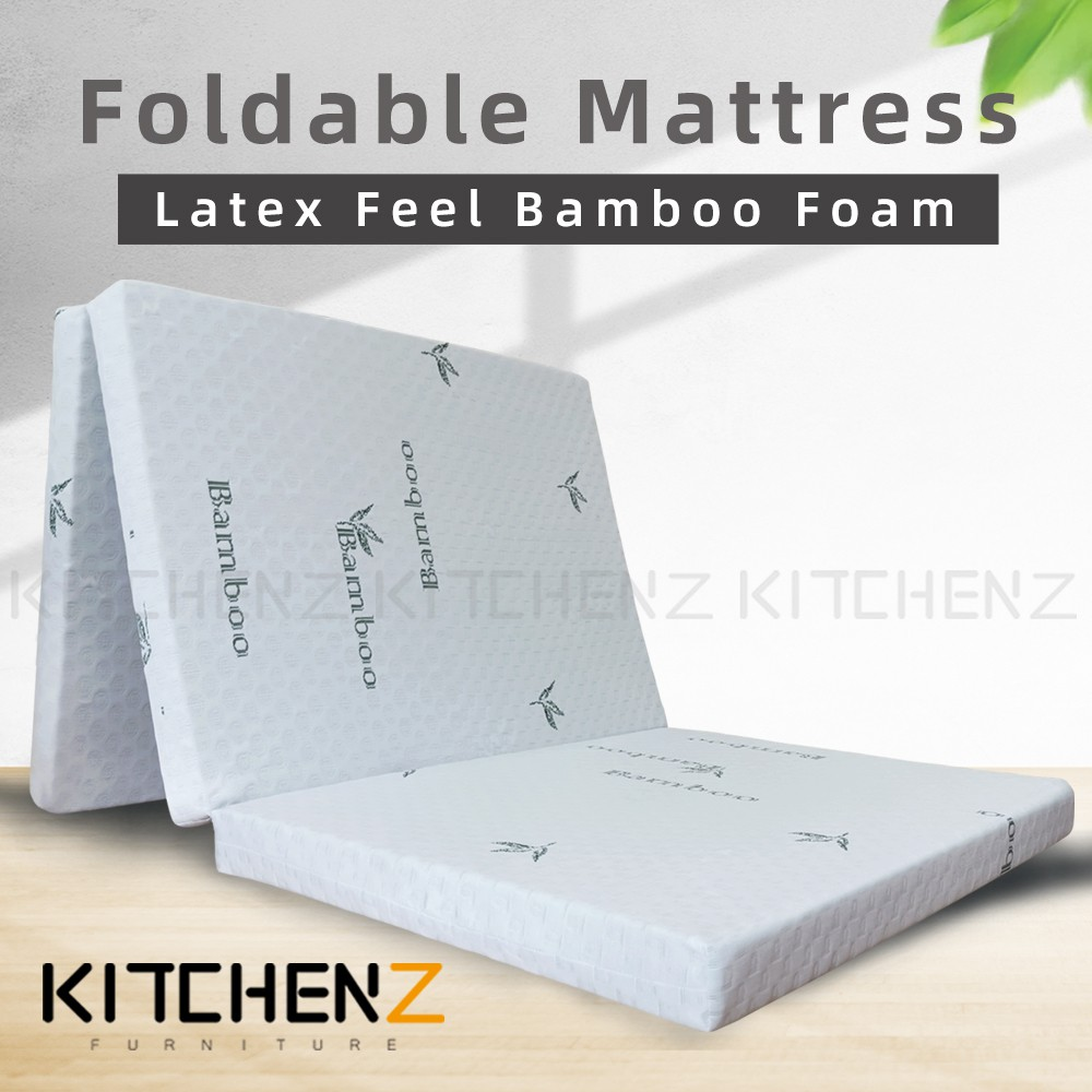 Kitchenz 2.5 inch Latex Feel Foldable Anti-Static Bamboo Foam Mattress with Carry Bag - Single HMZ-FMT-BAMBOO-2.5INCH