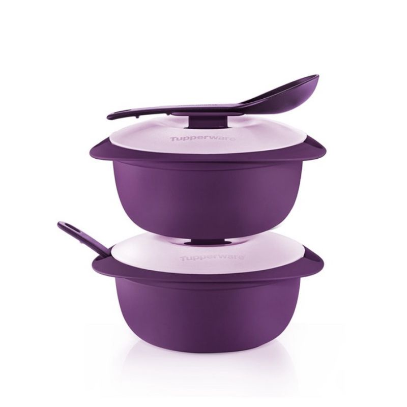Tupperware (2 pcs) Purple Royale Round Server with Serving Spoon 1.6L