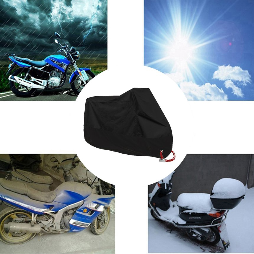 XL Blue/&Black Motorcycle Waterproof UV Protective Breathable Cover Outdoor