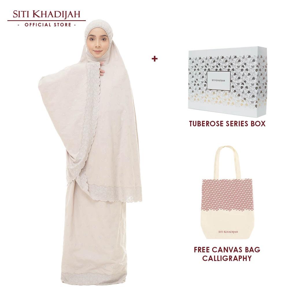 [Mawlid Sale] Siti Khadijah Telekung Broderie Hawa Color with Tuberose Series Box + Free Canvas Bag Calligraphy