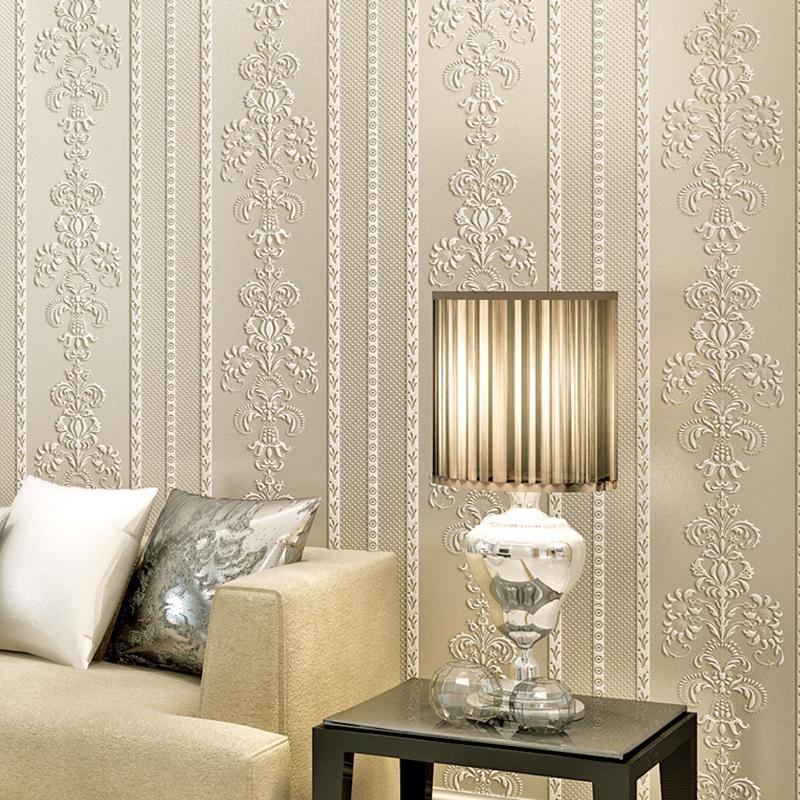 3D 5M Self-adhesive Wallpaper Embossed Stripes Wallpaper ...